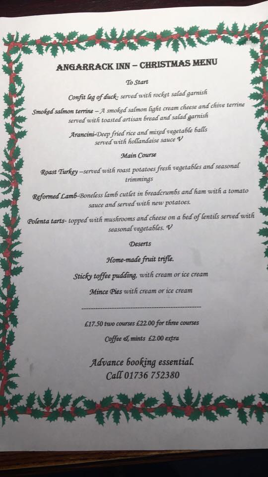 Angarrack Inn - Christmas Menu 2016